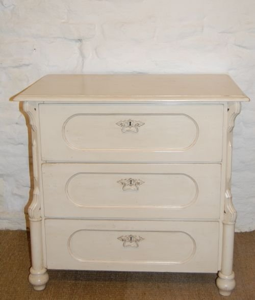 antique louis philippe painted pine chest of 3 drawers