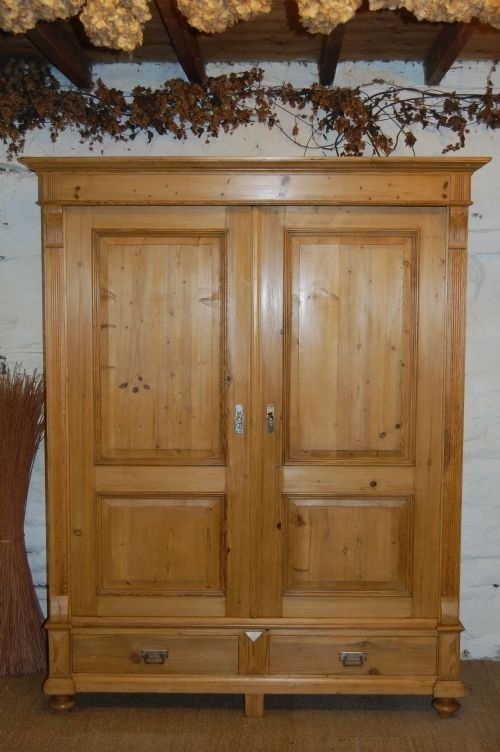 antique pine double wardrobe with drawers