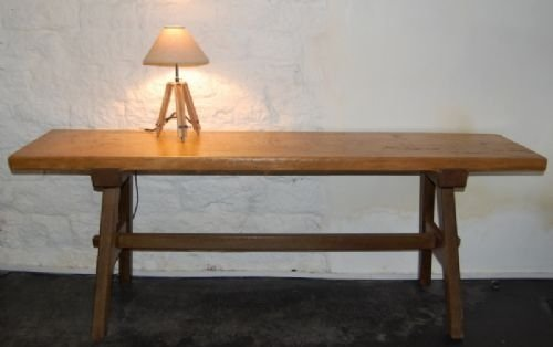 antique pine and oak trestle console table