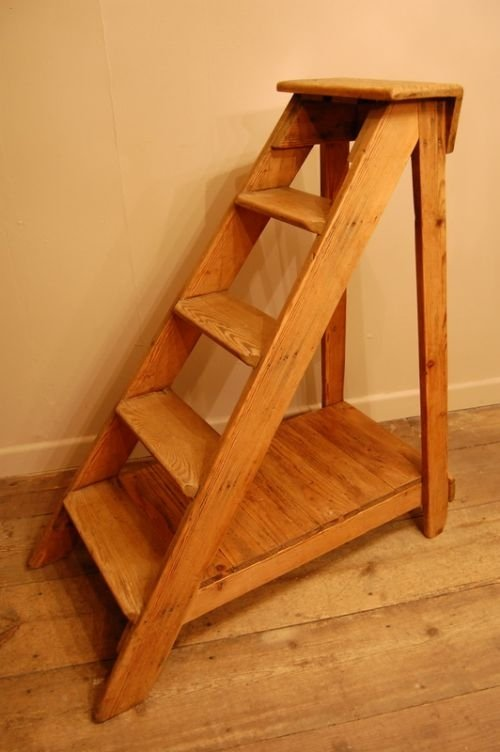 antique pine library style ladder