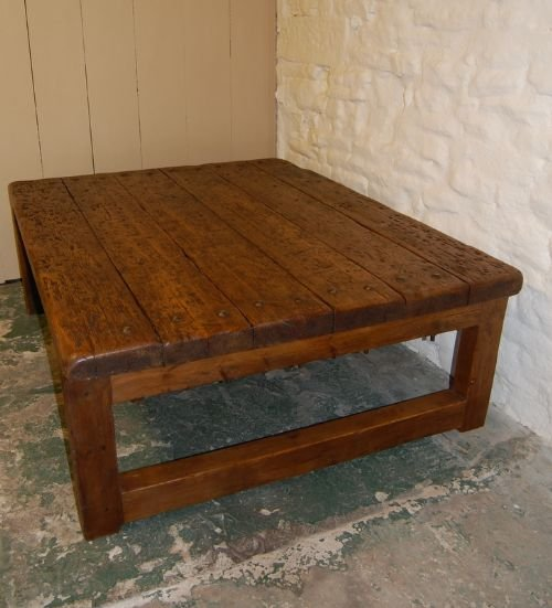 antique rustic mill coffee table
