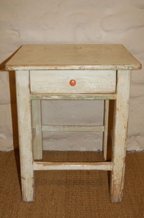 antique pine country side table stool
