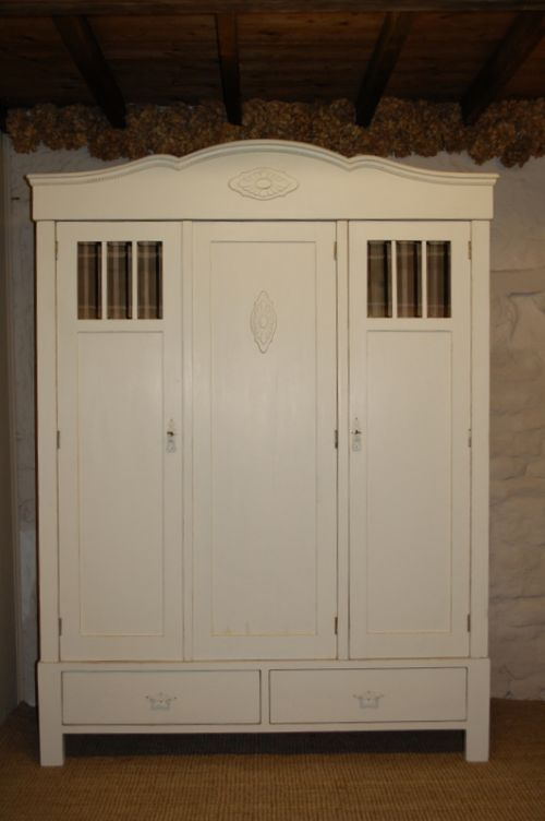 antique pine armoire triple wardrobe