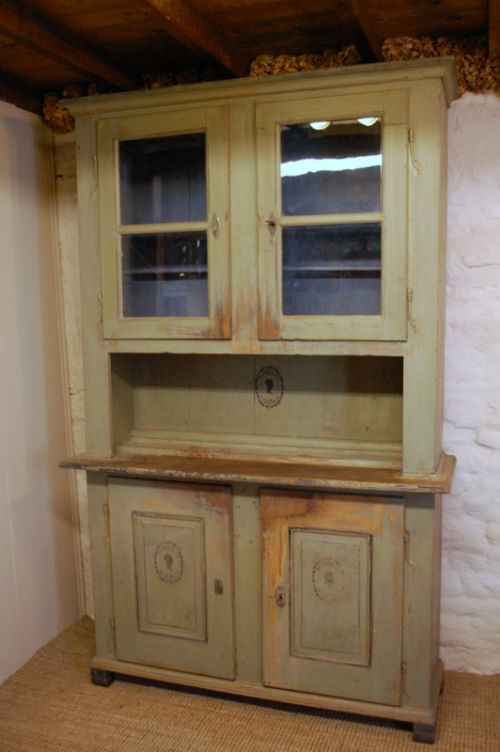 antique glazed dresser kitchen cupboard in original paint