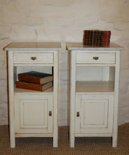 antique pair of bedside cabinets pot cupboards original paint 1900