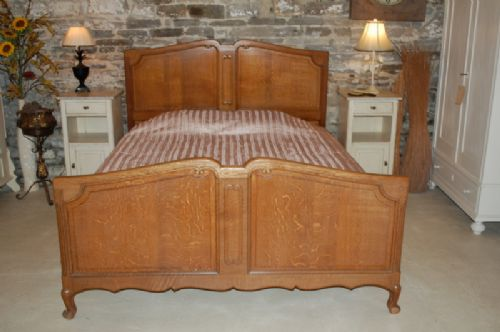 french art deco king size oak bed