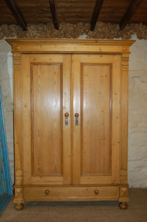antique pine double wardrobe armoire