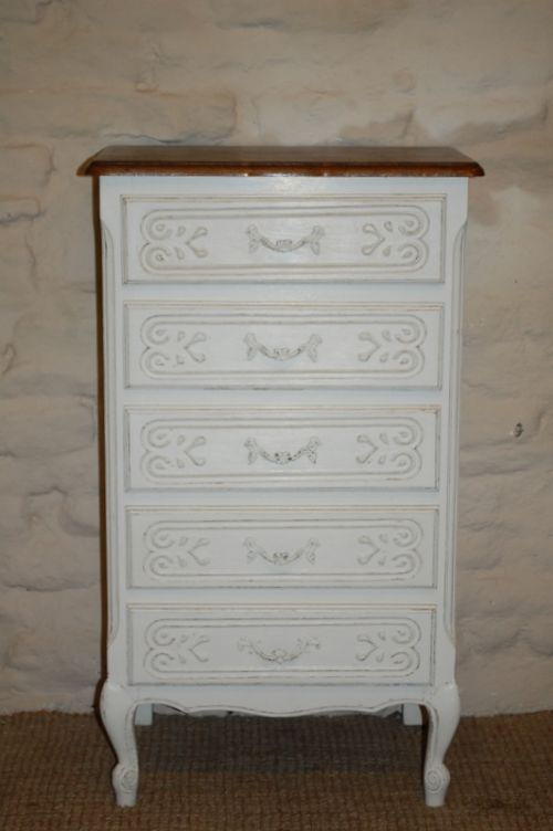 antique french louis xv revival tall boy chest of drawers