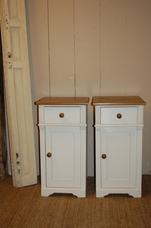 antique pair pine bedside cabinets pot cupboards 1860