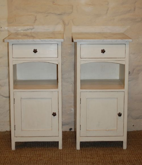 antique pair pine bedside cabinets pot cupboards 1900