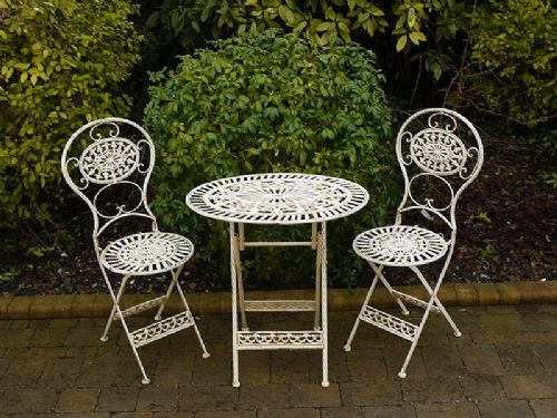 french style metal and cast iron 3 piece garden setbistro set in 4 colours
