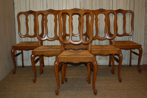 antique french set of six oak dining chairs