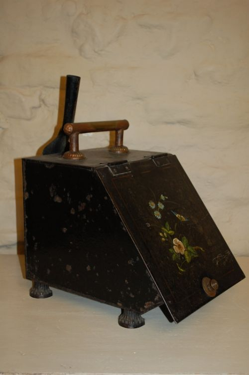 antique vintage tole decorative coal box scuttle hearth storage