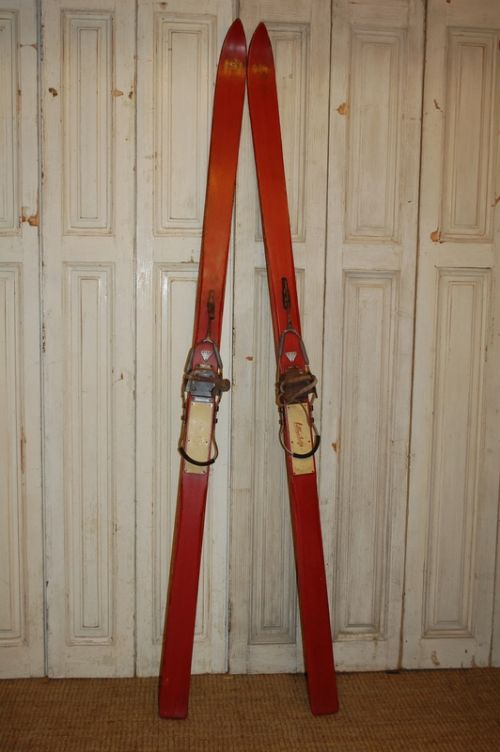 antique set of wooden swiss skis