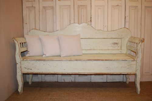 antique pine box settle bench with storage 1830