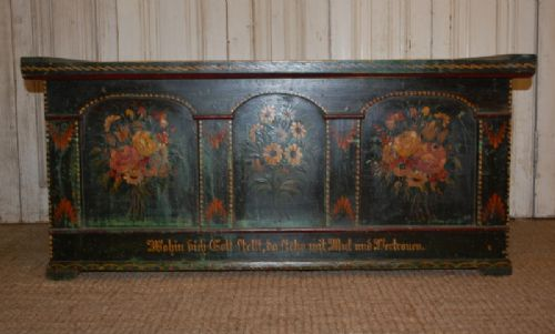 antique pine box dowry chest in original paint