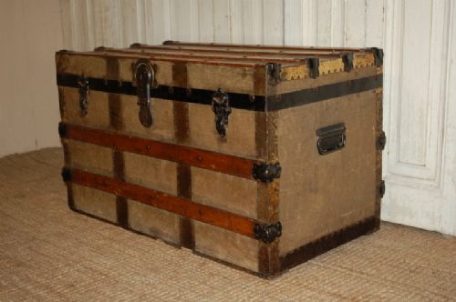 antique steamer cabin trunk vintage luggage chest 1900