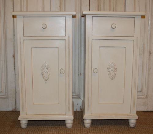 antique pair of bedside cabinets pot cupboards 1900