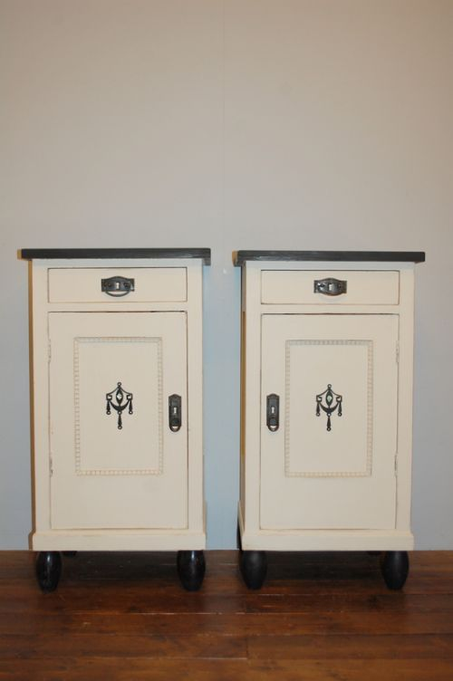 antique pair of bedside cabinets pot cupboards night stands 1900 art nouveau