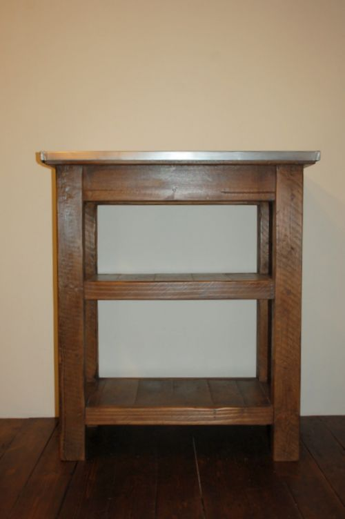 antique reclaimed mill timber shelf unit console