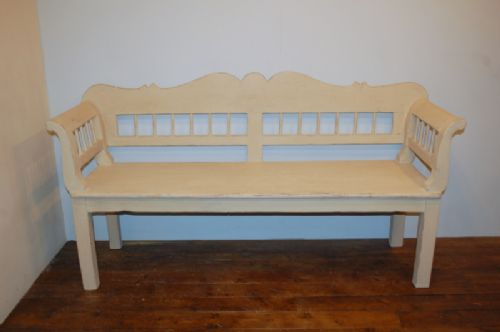 antique pine country settle bench pew 1860 short size