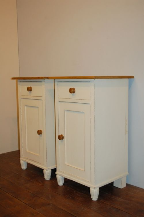 antique pair of pine bedside cabinets pot cupboards 1900