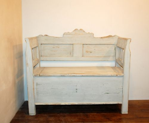 antique farmhouse box settle bench with storage 1860