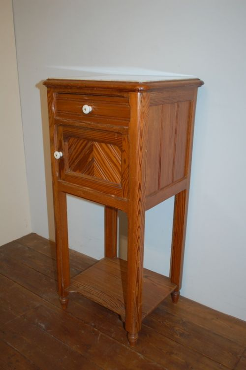 antique french small pine cabinet bedside cabinet pot cupboard side table 1880