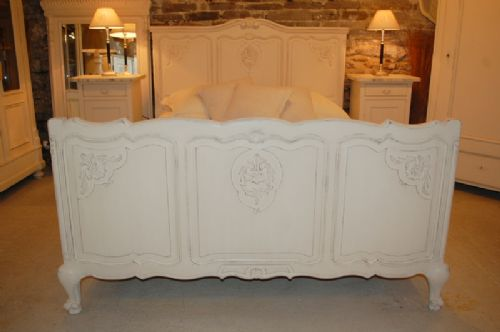 antique french painted oak double bed near king size