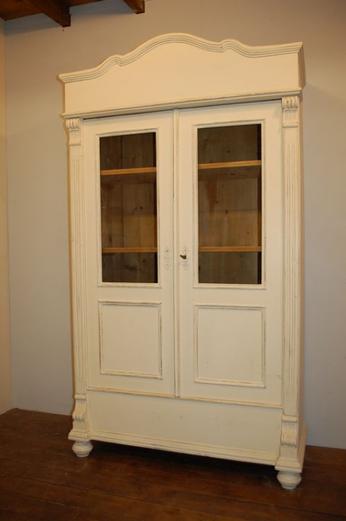 antique pine painted glazed cabinet glazed book case vitrine 1880