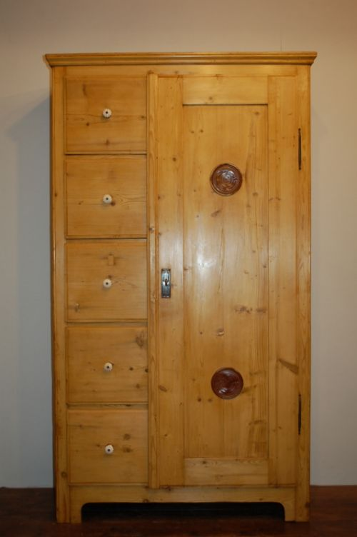 antique pine cupboard with 5 drawers 1890