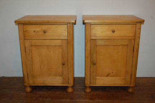 antique pair of pine bedside cabinets 1890