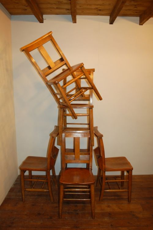 antique set of six elm chapel chairs 1880