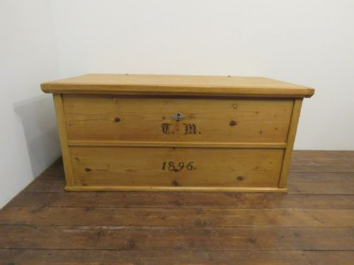 antique pine dowry chest blanket box dated 1896 with initials