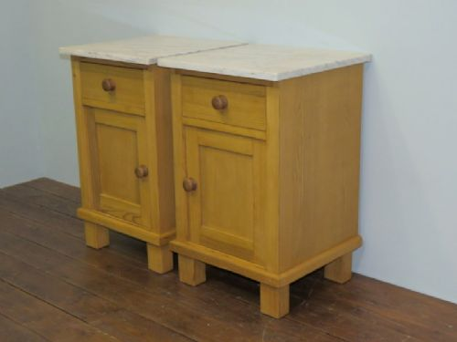 antique pair of pine bedside cabinets pot cupboards 1920