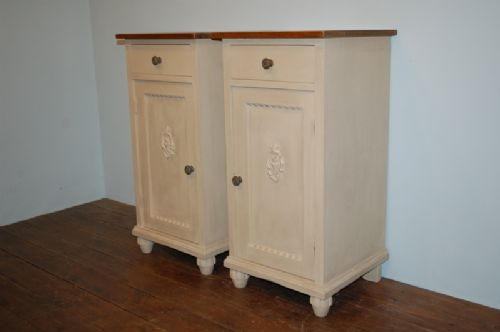 antique pair of pine bedside cabinets 1900