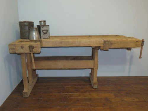 antique sycamore and pine carpenter's joiner's or cabinet maker's work bench 1900