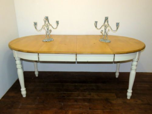 french vintage 2 leaf painted pine extension dining table