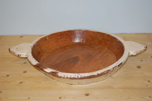 antique wooden charger dairy or food bowl in original paint