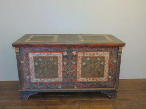 antique pine dowry chest with original decorative paint 1850