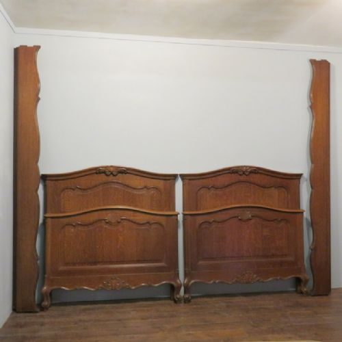 pair of antique french provencale style oak single beds matching twin beds 1880
