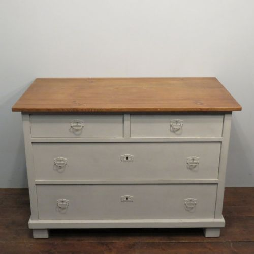 antique painted pine chest of drawers 1900
