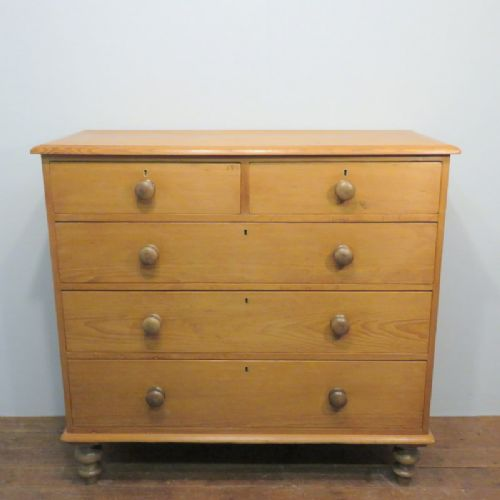 antique victorian pine chest of five drawers 1870