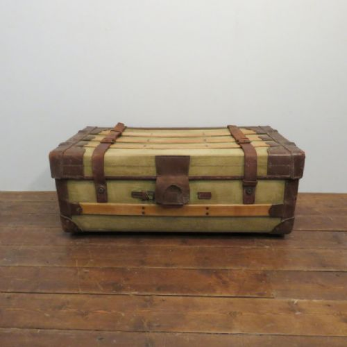 antique canvas and elm steamer railway travelling chest or trunk in original condition 1900