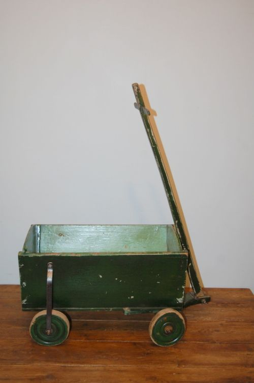 antique small wooden toy hand cart in original paint 1900