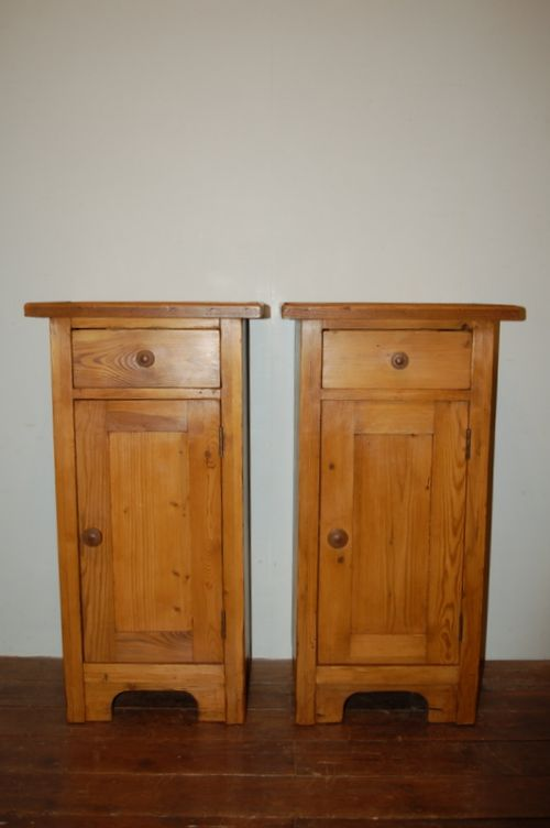 antique pair of pine bedside cabinets pot cupboards bedside tables 1890