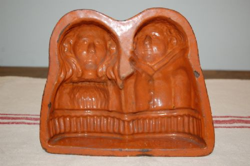 antique decorative glazed terracotta marriage cake mould french 1860