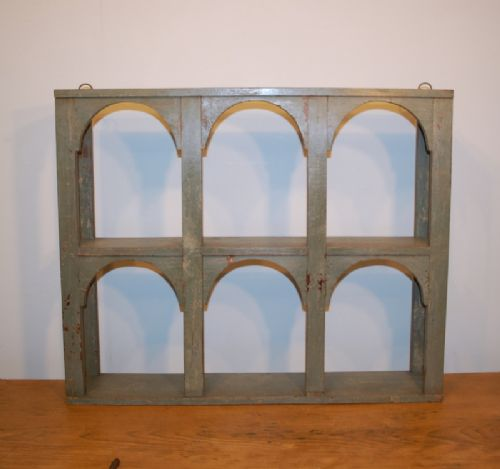 antique small original paint wall shelf regency blue 1850