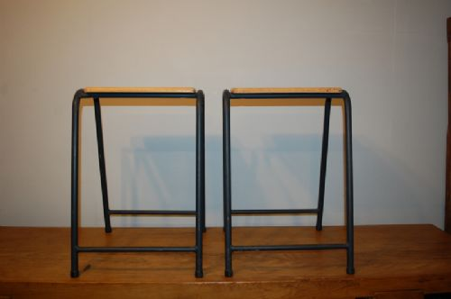pair of vintage retro birch and steel school lab stools 1950