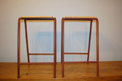 pair of vintage retro birch and painted steel school lab stools 1950